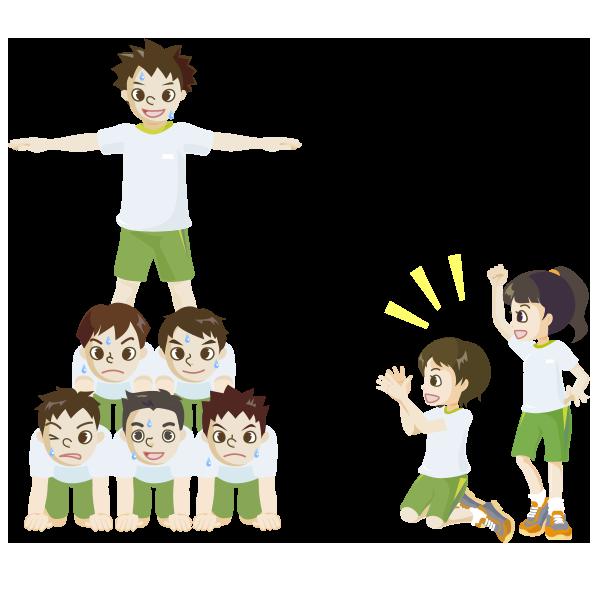 組体操(ピラミッド)のイラスト