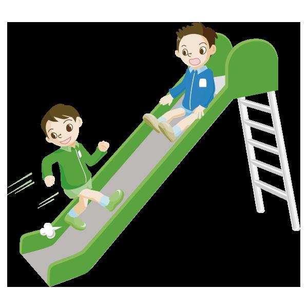 すべり台を逆さから登る児童のイラスト