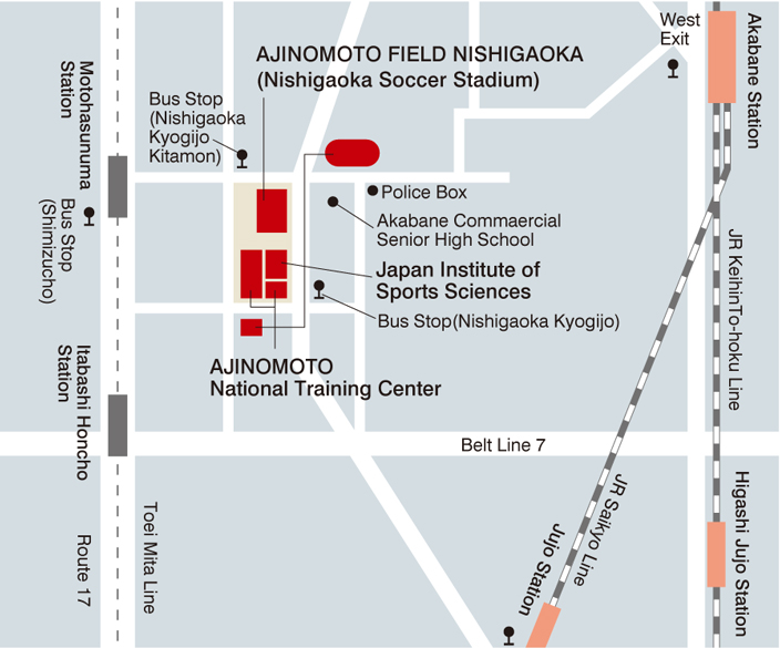 map(Japan Institute of Sports Sciences / AJINOMOTO National Training Center)
